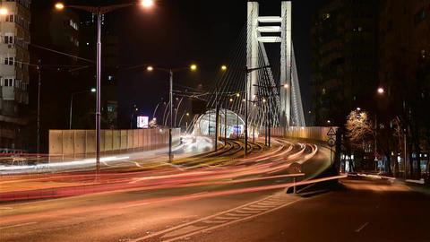 Large Steel Bridge in The City of Bucharest. Bridge Steel Support Cables That Live Action