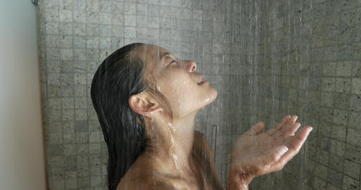 Shower Woman - Young woman showering washing hair in luxury bathroom Live Action