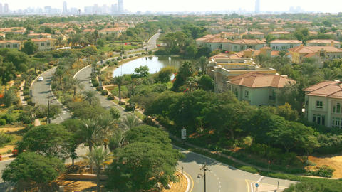 Aerial view of unknown luxury car driving along Jumeirah… Stock Video Footage