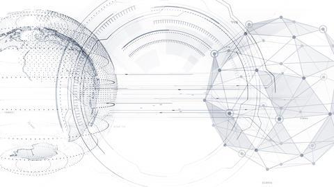 AI digital data network computer technology 3D illustration background 5 17 white Animation