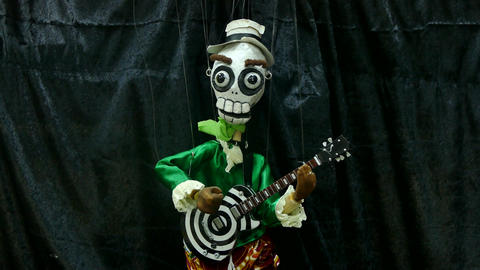 funny skeleton marionette Footage