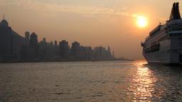 Cruise ship at Tsim Sha Tsui Kowloon Hong Kong Footage