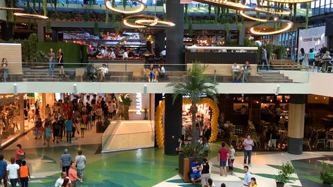 Timelapse Of People Crowd Rush For Shopping In Luxury Mall Interior Footage