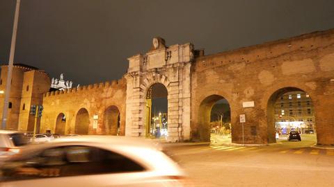 Porta San Giovanni. Night. Rome, Italy Footage