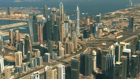 DUBAI, UNITED ARAB EMIRATES - DECEMBER 28, 2019. Aerial view of the Dubai Marina GIF