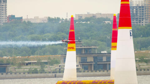 Racing airplane on track Live Action