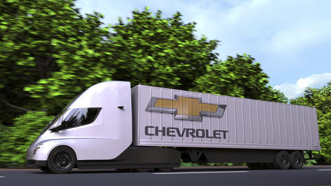 Electric semi-trailer truck with CHEVROLET logo on the side. Editorial loopable GIF
