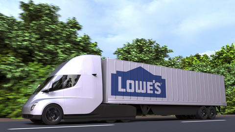 Electric semi-trailer truck with LOWE'S logo on the side. Editorial loopable 3D GIF