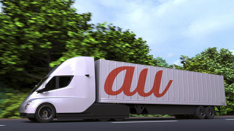 Electric semi-trailer truck with AU logo on the side. Editorial loopable 3D GIF