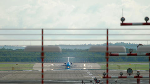 Twinjet airplane departure Live Action