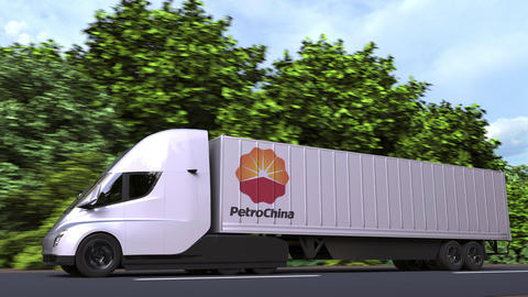 Electric semi-trailer truck with PETROCHINA logo on the side. Editorial loopable GIF