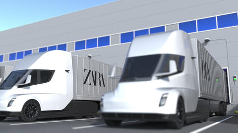 Modern semi-trailer trucks with Zara logo being loaded or unloaded at warehouse GIF