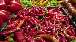 Fresh Raw hot red pepper in a counter of market GIF