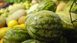 Fresh Raw watermelons in a counter of market GIF