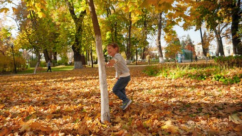 Slow motion video of cheerful little boy having fun in autumn park and running Live Action