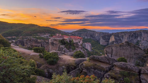 Dawn Over the Greek Rock Monastery. Time Lapse Live Action