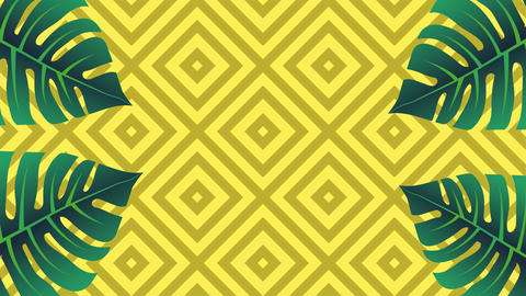 Tropical memphis style background. Palm tree leaves wiggling Animation