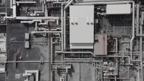 Aerial top down view of a futurisic technology manufacturing plant Live Action