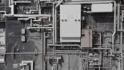 Aerial top down view of a futurisic technology manufacturing plant Acción en vivo