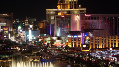 Timelapse of Las Vegas Strip, Nevada. Colorful Night Illumination Live Action