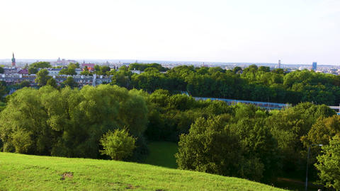 Panoramic view of the city landscape from the hill, Krakow Live Action