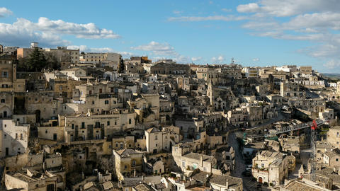 Top view of traditional town architecture,matera,italy,people motion timelapse Live Action