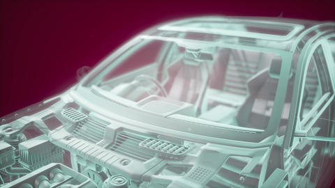 Holographic animation of 3D wireframe car model with engine Live Action