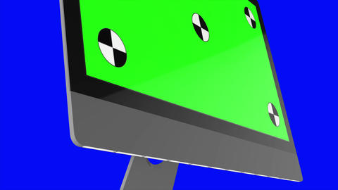 Modern computer with green screen, isolated on blue background . 3d render Live Action