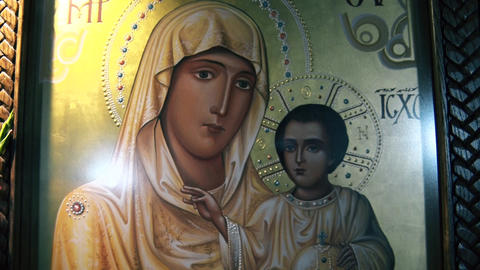 Icon of the Virgin with the Son Jesus in monastery GIF