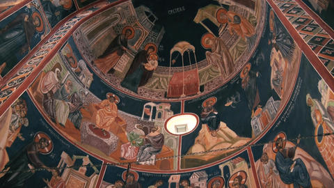Holy icons drawn on the ceiling in the monastery GIF