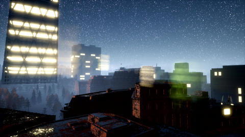 city skyscrapes at night with Milky Way stars GIF