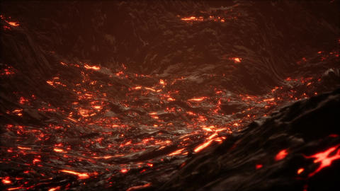 Red Orange vibrant Molten Lava flowing onto grey lavafield and glossy rocky land GIF