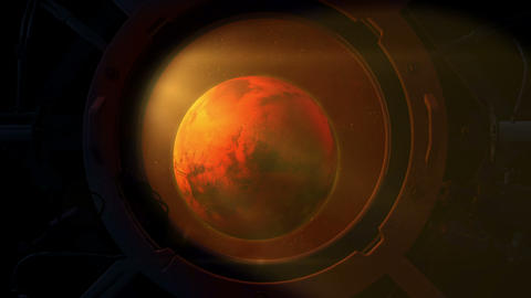 Planet Mars from the round spacecraft porthole Animation