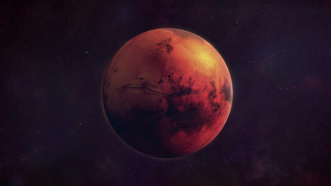Planet Mars in the darkness of space Animation