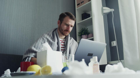 Young freelancer working from home during illness. Online education GIF