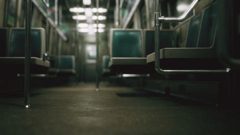 Inside of the old non-modernized subway car in USA Live Action