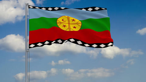 Mapuche flag against background of clouds floating on the blue sky Animation