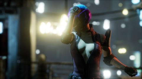 Future woman cyberpunk concept with neon city lights GIF