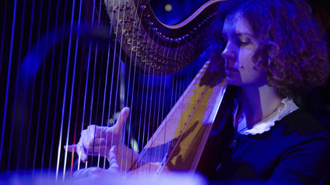 The woman plays the harp. Close-up Live Action