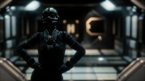 Steampunk woman in futuristic space ship GIF