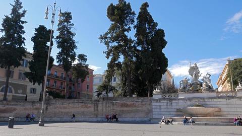 Panorama Piazza del Popolo. Fontana del Nettuno. Rome, Italy Footage