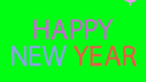 4K Cartoon Happy New Year with Flying Balloons on a Green Screen Background Footage