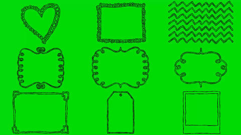 Real Animated Cartoon Shapes on a Green Screen Background Footage