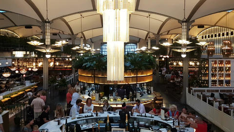 Barcelona, Spain - 25 September 2016 : Customers eat in El Nacional restaurant Footage