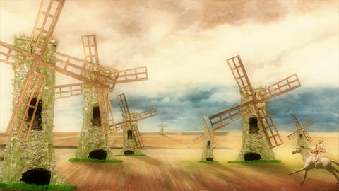 Don Quixote Riding on his Horse and Charge Windmills on a Beautiful Day Footage