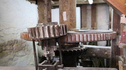Flour mill wheel turning Footage