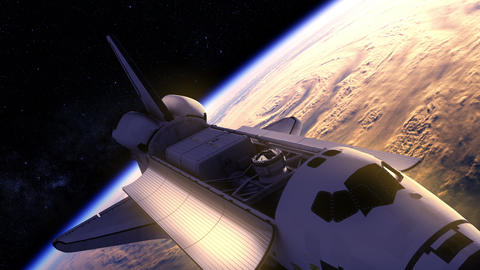Space Shuttle Flying Over The Earth Animation