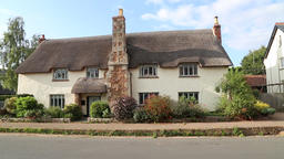 Thatched cottage Otterton Devon UK Footage