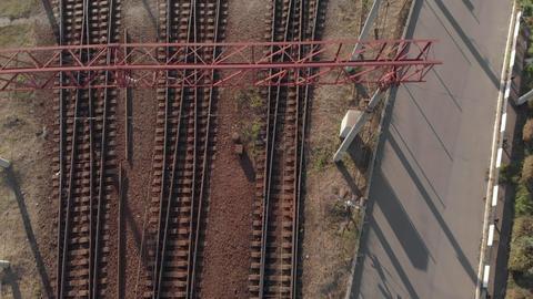 Empty railroad tracks with rails. Kyiv. Ukraine. Aerial view Live Action