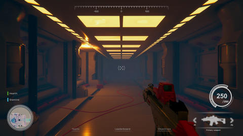 Mock up 3D animation of first person space shooter with game over overlay at the GIF